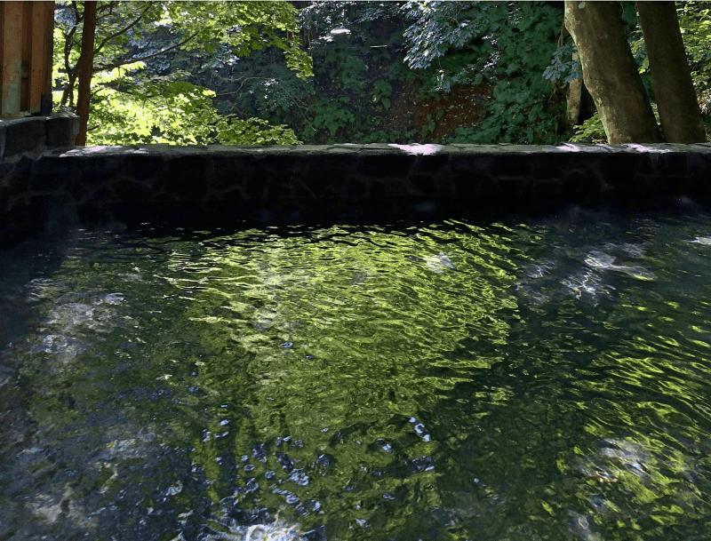 鈴森の湯の夏の露天風呂は新緑に囲まれて気持ちがいいです